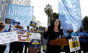 San Diego assemblywoman Lorena Gonzalez speaks at a rally in support of Assembly Bill 5 in Sacramento, California.
