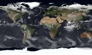 Composite image of Earth from the ring of geostationary satellites in orbit high above above the Earth.