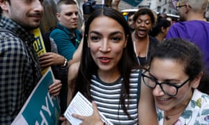 Alexandria Ocasio-Cortez, seen here in New York, is now campaigning in Kansas and other Republican states.