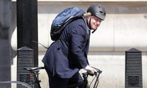 Boris Johnson riding his bike