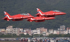 The Red Arrows perform in their Hawk T1 jets in Zhuhai, China, on Monday