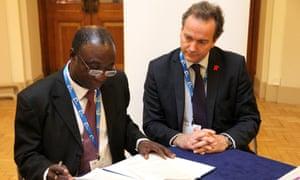 Ghana's minister of power Kwabena Donkor and UK international development minister Nick Hurd