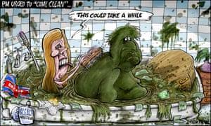 Brian Adcock cartoon 29/4/21: Carrie scrubs filthy Boris's back in bath