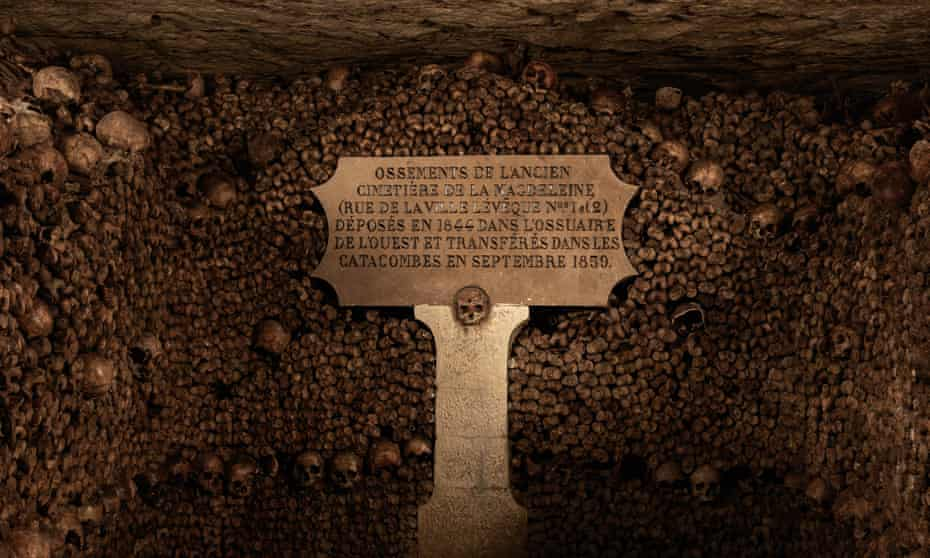 The remains of millions of people were moved to the Catacombs in the late 18th century to avoid a public health problem in Paris.