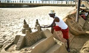 Sand installations at North Beach