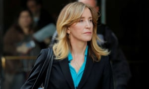 Felicity Huffman leaves federal court in Boston, Massachusetts, on 3 April 2019.