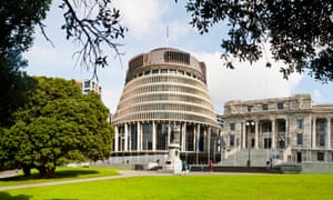 The New Zealand parliament buildings, nicknamed the Beehive, in Wellington
