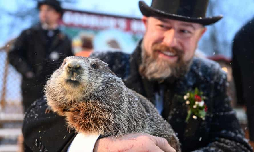 Punxsutawney Phil, with handler AJ Dereume, at Gobbler's Knob, where the annual ceremony takes place.