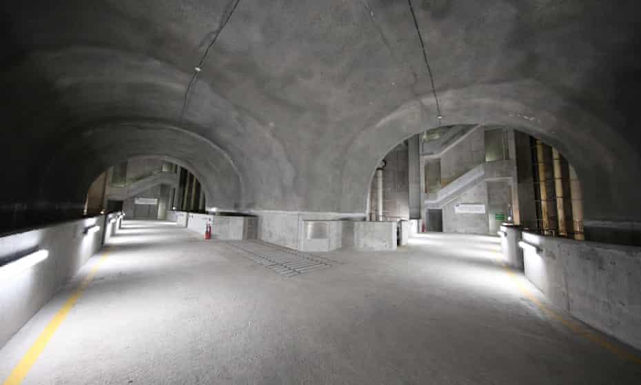 Walkways inside a manmade cavern housing a reservoir in Hong Kong.