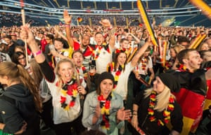 Happy Germany fans at Commerzbank-Arena in Frankfurt.