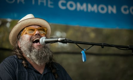 The Rev Vince Anderson performs at the Vote Common Good Rally in Greensboro, North Carolina.