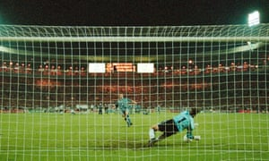 Gareth Southgate's penalty is saved by Germany goalkeeper Andreas Köpke.