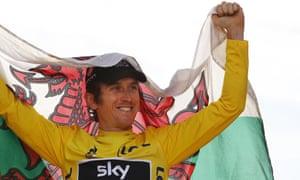 Tour de France winner Geraint Thomas, celebrating in Paris.