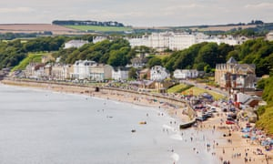 Filey esplanade and beach, East Yorkshire, England, UK