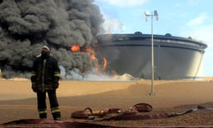 A fire at a oil storage facility in Libya in 2016.