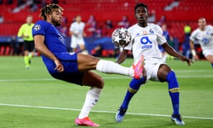 Reece James of Chelsea attempts to get the better of Porto's Zaidu Sanusi.