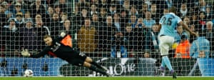 Manchester City's Fernandinho misses his penalty during the penalty shootout
