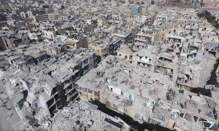 An aerial view of the buildings in Tariq al-Bab area of Aleppo destroyed by Syrian forces and Russian warplanes.
