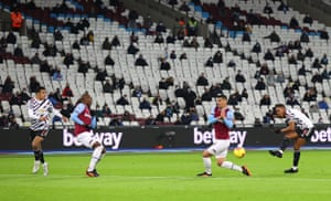 General view inside the stadium as fans look on as Anthony Martial of Manchester United shoots during the Premier League match between West Ham United and Manchester United at London Stadium on 5 December, 2020 in London, England.