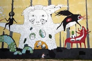 Minsk, Belarus: A mural at the Tsekh art gallery in Oktyabrskaya Street