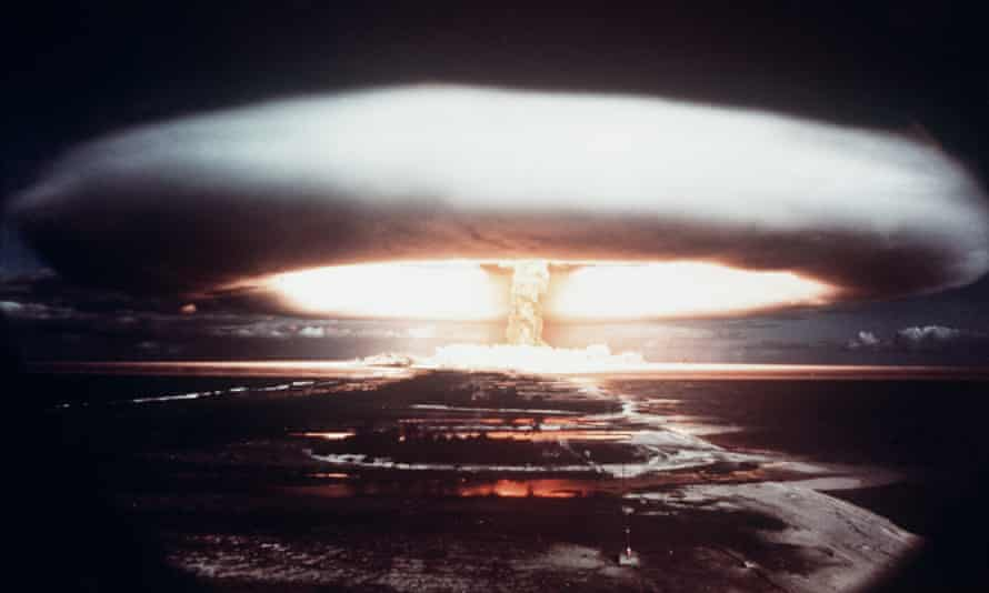 A nuclear explosion in the Mururoa atoll, French Polynesia, in the 1970s