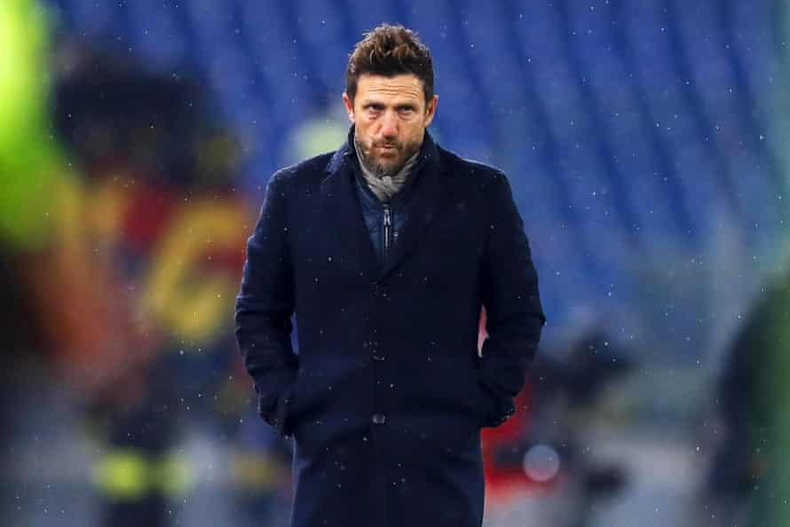 Roma's head coach Eusebio Di Francesco during the game.