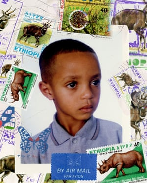 A collage I made for my photo book, Don't Make Me Look Like the Kids on TV (self published, 2018). The stamps were from letters my mother received from Ethiopia after she moved to the States.
