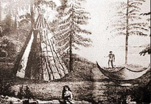 Drawing of a Beothuk camp by Major John Cartwright.