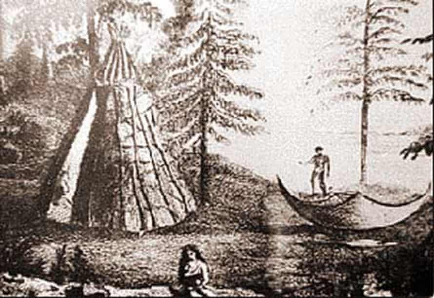 Drawing of a Beothuk camp by Major John Cartwright.