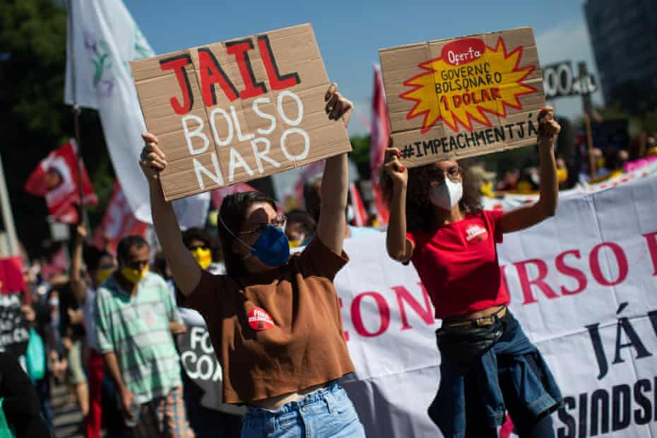 Demonstrators take to the streets to protest the government of Jair Bolsonaro in Rio de Janeiro.