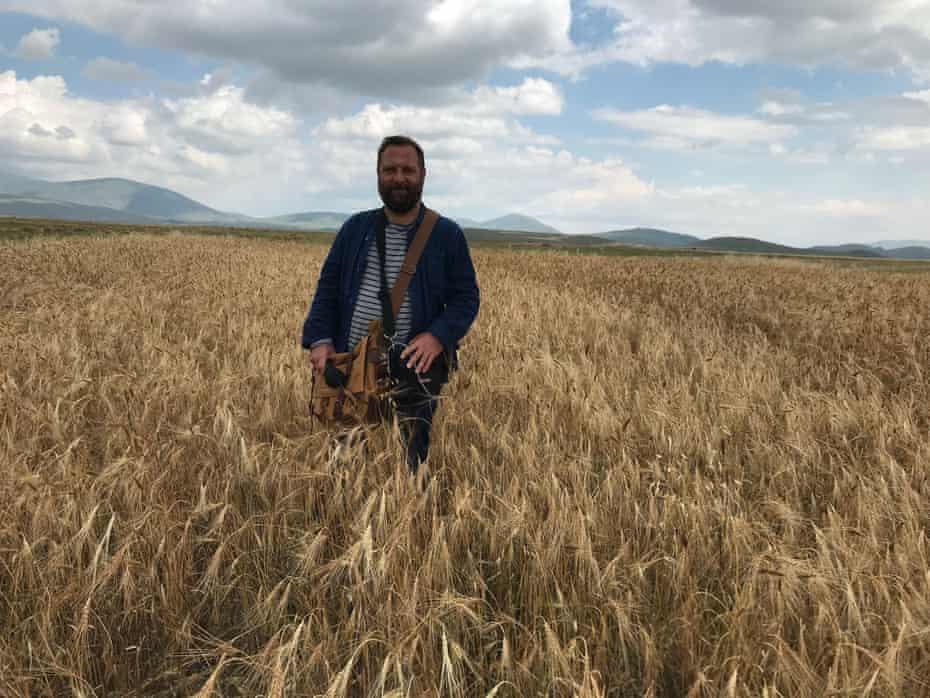 Dan Saladino in a Turkish wheatfield.