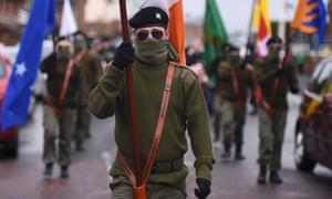 Masked members of Republican Sinn Féin in Lurgan on Saturday.