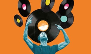 Composite of man with arms up, pointing to vinyl records above his head, against orange background