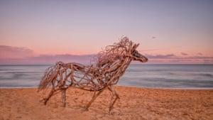His first driftwood sculpture was a horse on Terrigal Beach.