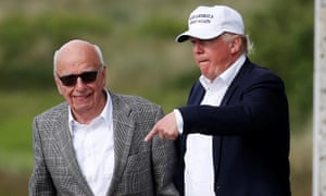 Murdoch is hosted by Trump at his Aberdeen golf course in June 2016.
