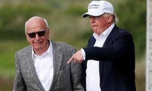 Donald Trump and Rupert Murdoch pictured last June.