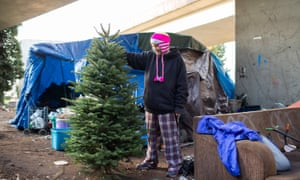 Brandie Osborne, 44, near what was formerly 'the Jungle,' a large, unsanctioned camp in Seattle which was cleared last year.