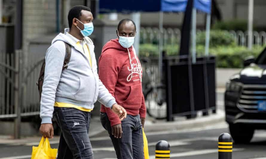 African people wearing masks in Guangzhou.