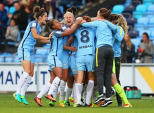 Manchester City celebrate winning the WSL title.