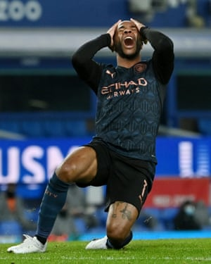 Raheem Sterling reacts after missing a chance to score.
