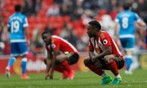 Sunderland's Jermain Defoe and Victor Anichebe look dejected against Bournemouth