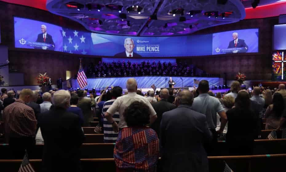 Mike Pence speaks at the Southern Baptist megachurch First Baptist Dallas in June 2020.