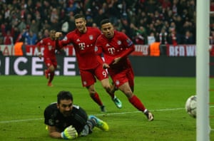 Thiago wheels away in celebration after stroking the ball past Gianluigi Buffon to give Bayern the lead.