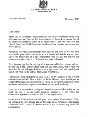 May's reply to Corbyn - page 1