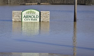 A park flooded by the Meramec river in Arnold, Missouri on Saturday 2 January.