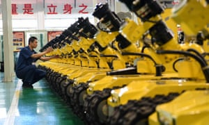 Firefighting robots in Tangshan City, north China. Concern is growing about automation's potential to destroy jobs.