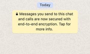 Screenshot from popular instant messaging app Whatsapp.