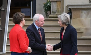 Theresa May meets Martin McGuinness and Arlene Foster
