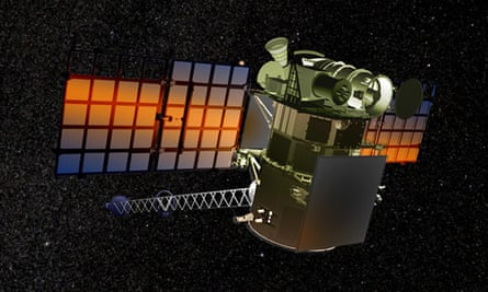 the Deep Space Climate Observatory floating in deep space