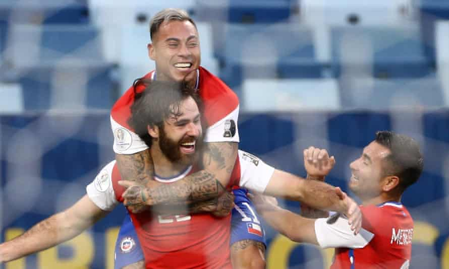 Ben Brereton celebrates with his teammates after scoring on his full debut for Chile.